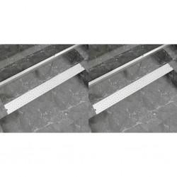 stradeXL Odpływ prysznicowy liniowy, 2 szt., Bubble, stal, 1030x140 mm