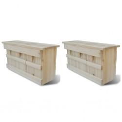 stradeXL Domki dla wróbli, 2 szt., drewniane, 44 x 15,5 x 21,5 cm
