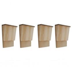 stradeXL Domki dla nietoperzy, 4 szt., 22 x 12 x 34 cm, drewniane