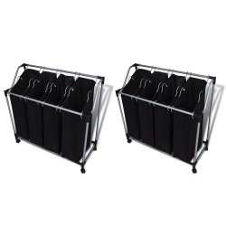 stradeXL Laundry Sorters with Bags 2 pcs Black and Grey