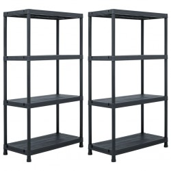 stradeXL Storage Shelf Racks 2 pcs Black 60x30x138 cm Plastic