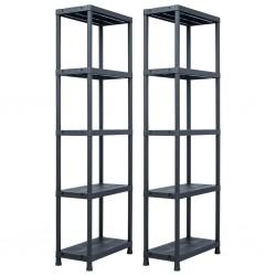 stradeXL Storage Shelf Racks 2 pcs Black 125 kg 60x30x180 cm Plastic