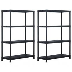 stradeXL Storage Shelf Racks 2 pcs Black 220 kg 90x40x138 cm Plastic
