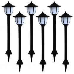 stradeXL Lampy solarne do ogrodu, 6 szt., LED, czarne