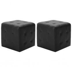 stradeXL 2 pufy, czarne, 30 x 30 x 30 cm, sztuczna skóra