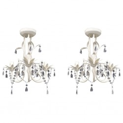 stradeXL Crystal Pendant Ceiling Lamp Chandeliers 2 pcs Elegant White