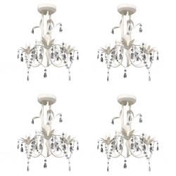 stradeXL Crystal Pendant Ceiling Lamp Chandeliers 4 pcs Elegant White
