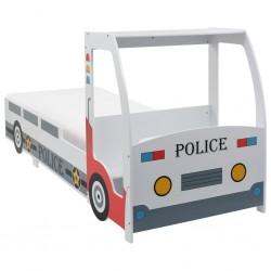 stradeXL Łóżko dziecięce samochód policyjny, materac memory, 90x200 cm