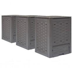 stradeXL Garden Composters 3 pcs Brown 60x60x83cm 900 L
