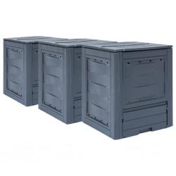 stradeXL Garden Composters 3 pcs Grey 60x60x73cm 780 L
