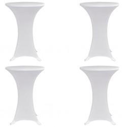 stradeXL Pokrowce na stół barowy, Ø 60 cm, białe, elastyczne, 4 szt.
