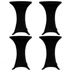 stradeXL Pokrowce na stół barowy, Ø 60 cm, czarne, elastyczne, 4 szt.