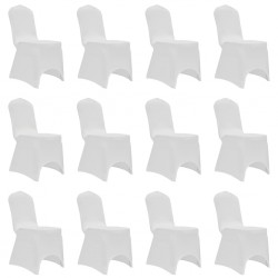 stradeXL Chair Cover Stretch White 12 pcs
