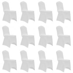stradeXL Elastyczne pokrowce na krzesła, białe, 12 szt.