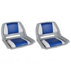stradeXL Siedziska do łodzi, 2 szt., składane, niebiesko-białe poduszki