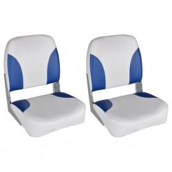 stradeXL Boat Seats 2 pcs Foldable Backrest Blue-white Pillow 41x36x48cm