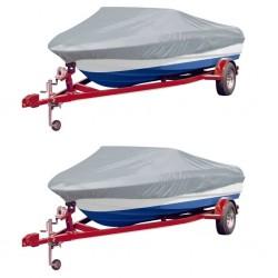 stradeXL Boat Covers 2 pcs Grey Length 427-488 cm Width 229 cm