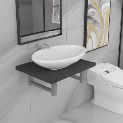 stradeXL Dwuczęściowy zestaw mebli do łazienki, ceramiczny, szary