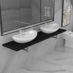stradeXL Trzyczęściowy zestaw mebli do łazienki, ceramiczny, czarny
