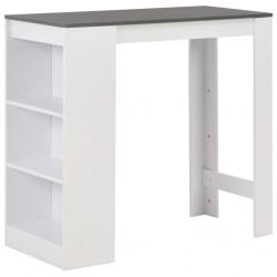 stradeXL Stolik barowy z półkami, biały, 110 x 50 x 103 cm