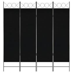 stradeXL Parawan 4-panelowy, czarny, 160 x 180 cm