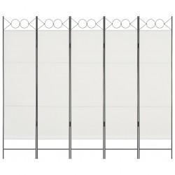 stradeXL Parawan 5-panelowy, biały, 200 x 180 cm