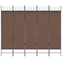 stradeXL Parawan 5-panelowy, brązowy, 200 x 180 cm