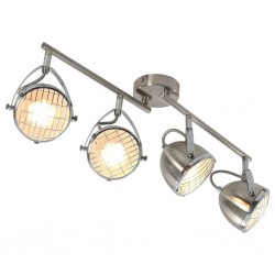 stradeXL Lampa z 4 reflektorami, srebrna, GU10