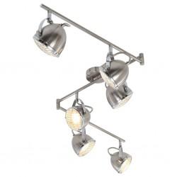 stradeXL Lampa z 6 reflektorami, srebrna, GU10