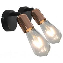 stradeXL Spot Lights 2 pcs with Filament Bulbs 2 W Black and Copper E27
