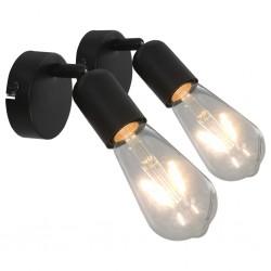 stradeXL Spot Lights 2 pcs with Filament Bulbs 2 W Black E27