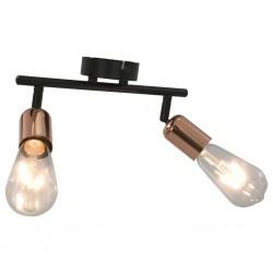 stradeXL Lampa, 2 żarówki żarnikowe, 2 W, czarno-miedziana, E27
