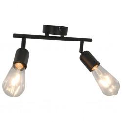 stradeXL Lampa z 2 żarówkami żarnikowymi, 2 W, czarna, E27