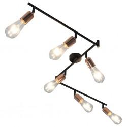 stradeXL Lampa, 6 żarówek żarowych, 2 W, czarno-miedziana, 30 cm, E27