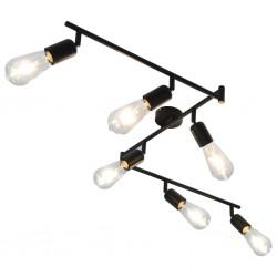 stradeXL Lampa z 6 reflektorami, czarna, 30 cm, E27