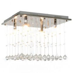stradeXL Lampa sufitowa z kryształami i koralikami, srebrna, kostka, G9