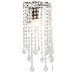 stradeXL Lampa ścienna z kryształkami i koralikami, srebrna, E14