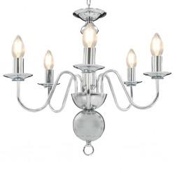 stradeXL Chandelier Silver 5 x E14 Bulbs