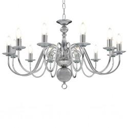 stradeXL Chandelier Silver 12 x E14 Bulbs