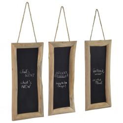 stradeXL Tablice kredowe, 3 szt., 30 x 70 cm, drewno tekowe
