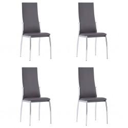 stradeXL Krzesła jadalniane, 4 szt., szare, sztuczna skóra