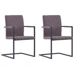 stradeXL Krzesła stołowe, 2 szt., wspornikowe, ciemnobrązowe, ekoskóra
