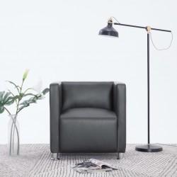 stradeXL Fotel kubik, szary, sztuczna skóra