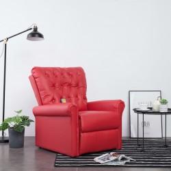 stradeXL Rozkładany fotel masujący, czerwony, sztuczna skóra