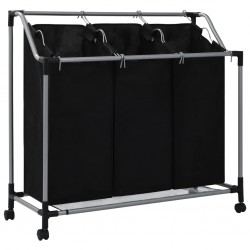 stradeXL Laundry Sorter with 3 Bags Black Steel