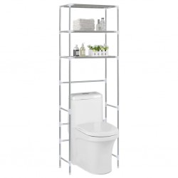 stradeXL 3-poziomowa szafka łazienkowa nad toaletę, srebrna, 53x28x169cm