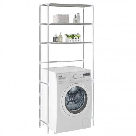 stradeXL 3-poziomowa szafka łazienkowa nad pralkę, srebrna, 69x28x169 cm