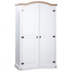 stradeXL Szafa sosnowa w meksykańskim stylu Corona, 2-drzwiowa, biała