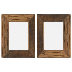 stradeXL Photo Frames 2 pcs 25x30 cm Solid Reclaimed Wood and Glass