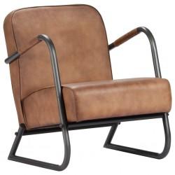 stradeXL Fotel wypoczynkowy, jasnobrązowy, skóra naturalna